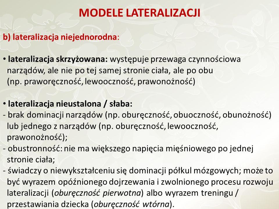 MODELE LATERALIZACJI b) lateralizacja niejednorodna: