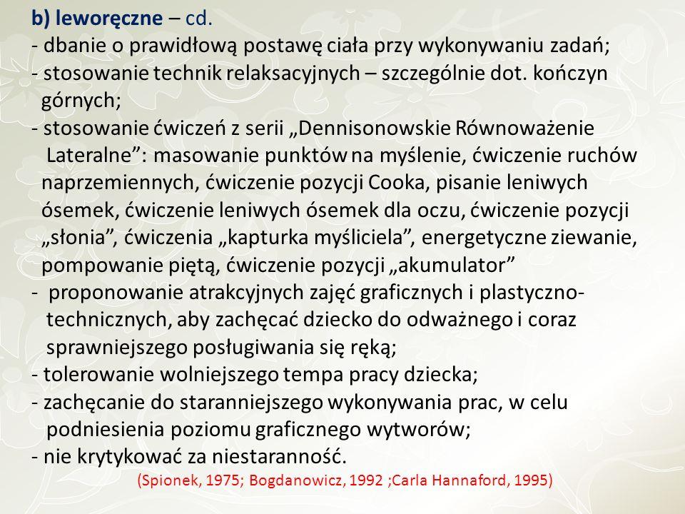 (Spionek, 1975; Bogdanowicz, 1992 ;Carla Hannaford, 1995)