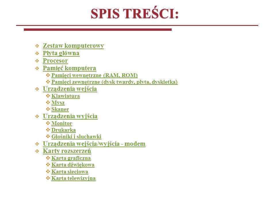 SPIS TREŚCI: Zestaw komputerowy Płyta główna Procesor Pamięć komputera