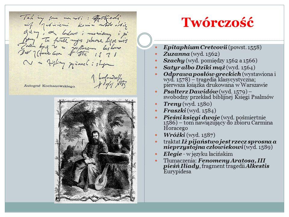 Twórczość Epitaphium Cretcovii (powst. 1558) Zuzanna (wyd. 1562)