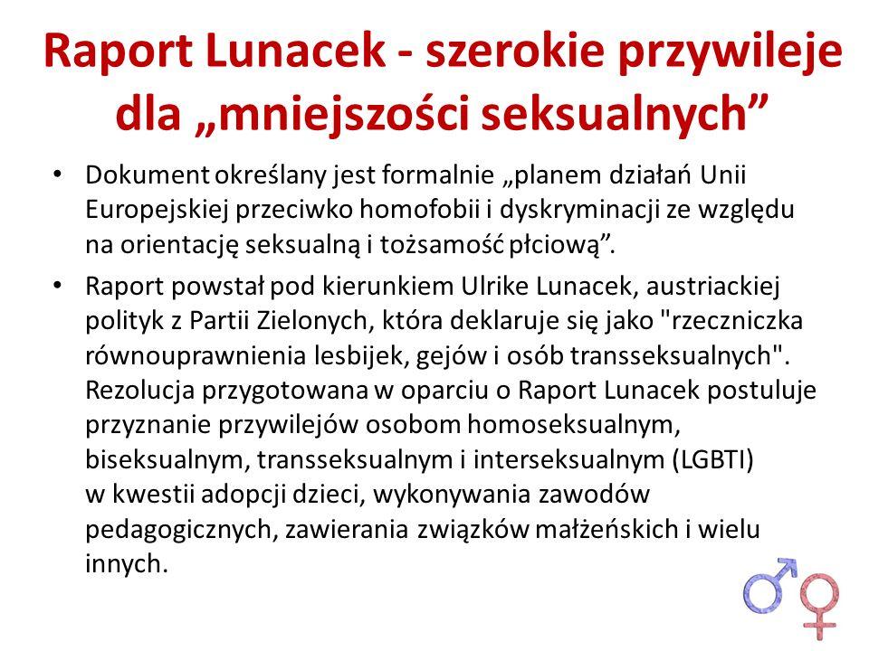 """Raport Lunacek - szerokie przywileje dla """"mniejszości seksualnych"""