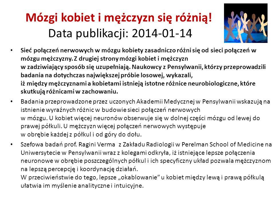 Mózgi kobiet i mężczyzn się różnią! Data publikacji: 2014-01-14