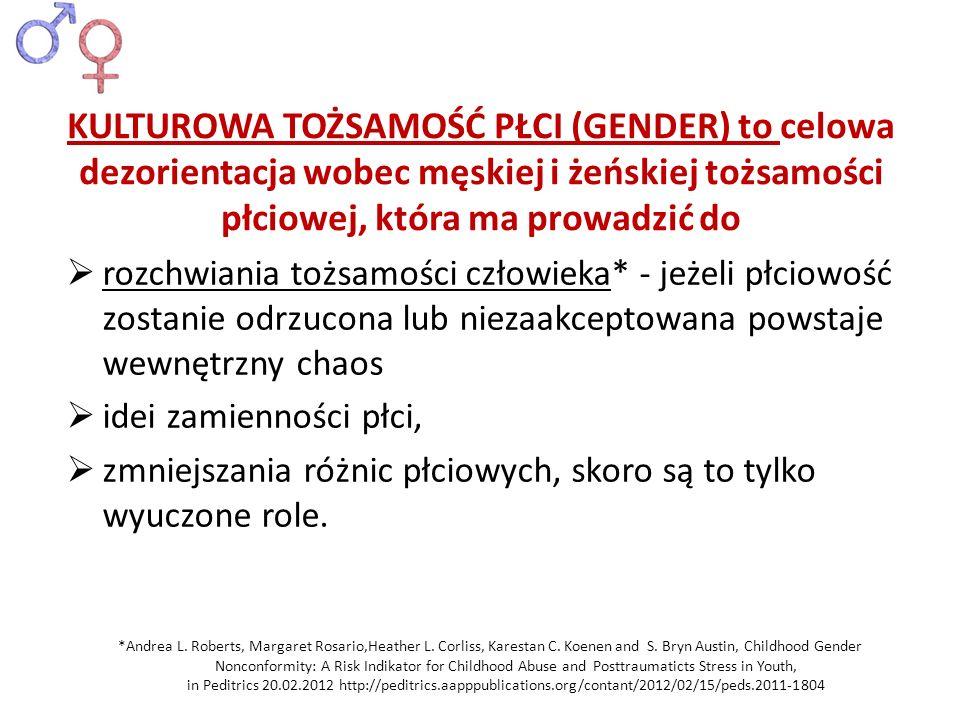 KULTUROWA TOŻSAMOŚĆ PŁCI (GENDER) to celowa dezorientacja wobec męskiej i żeńskiej tożsamości płciowej, która ma prowadzić do