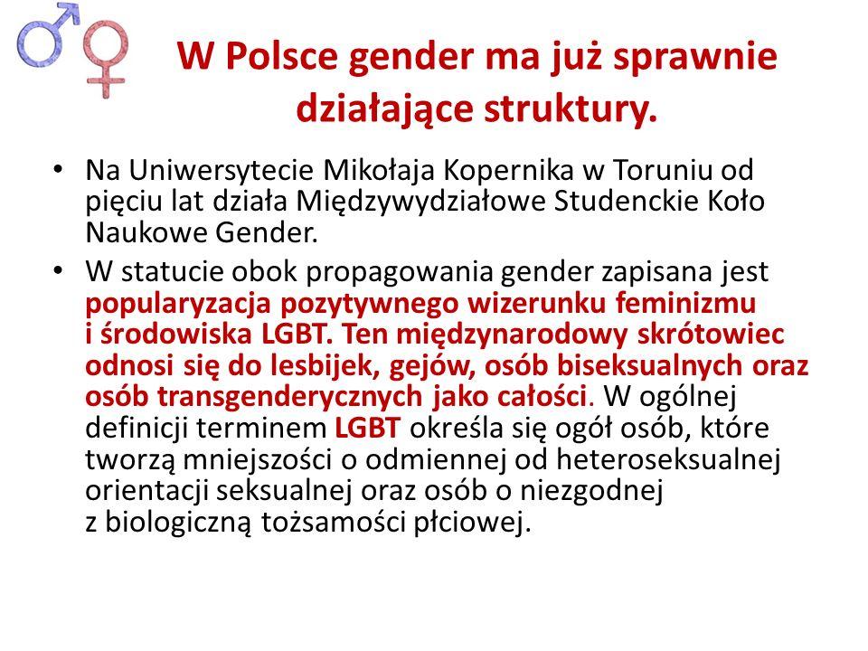 W Polsce gender ma już sprawnie działające struktury.