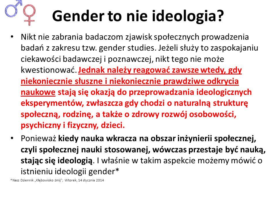 Gender to nie ideologia