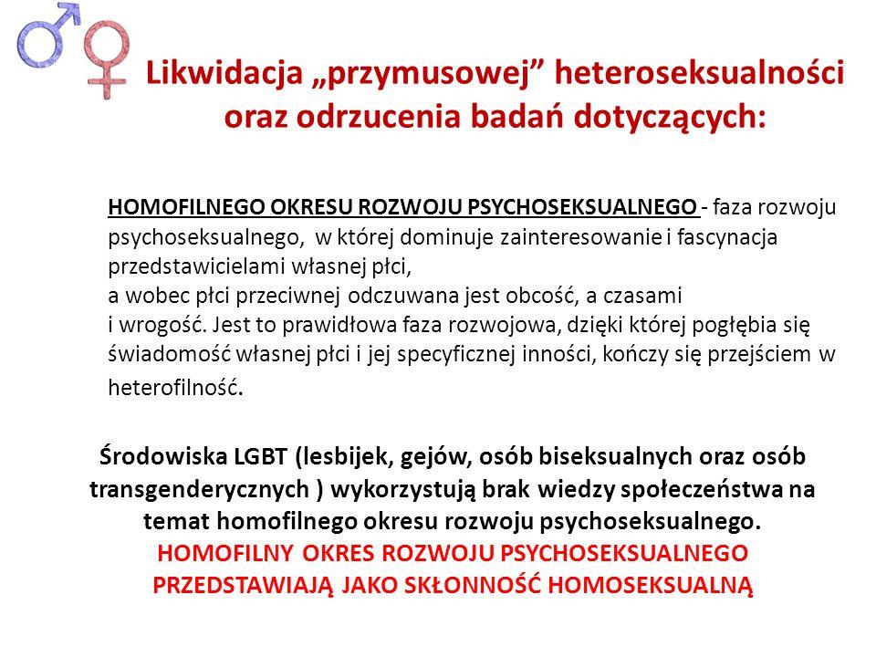 """Likwidacja """"przymusowej heteroseksualności oraz odrzucenia badań dotyczących:"""