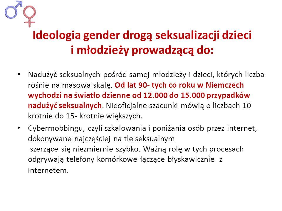 Ideologia gender drogą seksualizacji dzieci i młodzieży prowadzącą do: