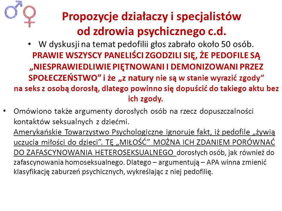 Propozycje działaczy i specjalistów od zdrowia psychicznego c.d.