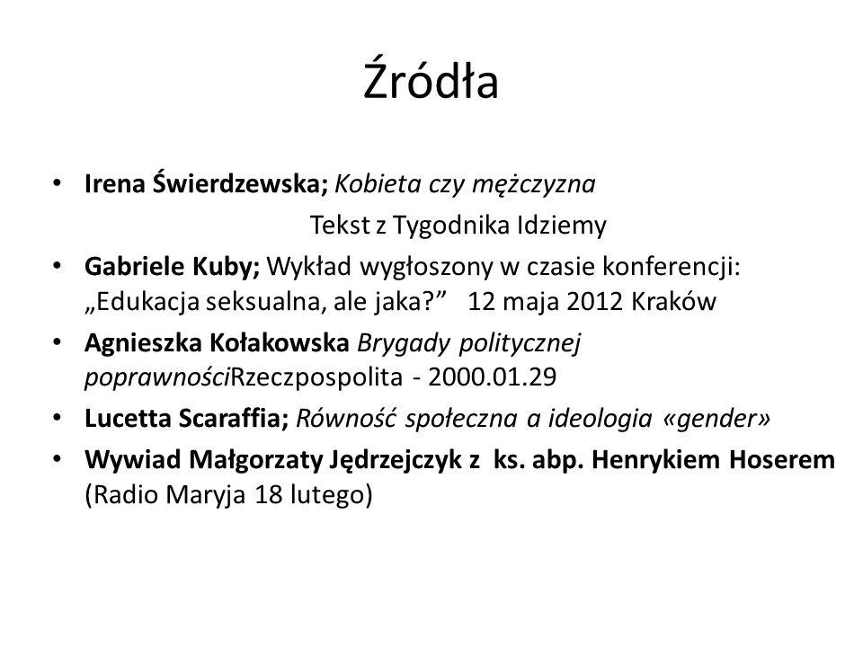 Źródła Irena Świerdzewska; Kobieta czy mężczyzna