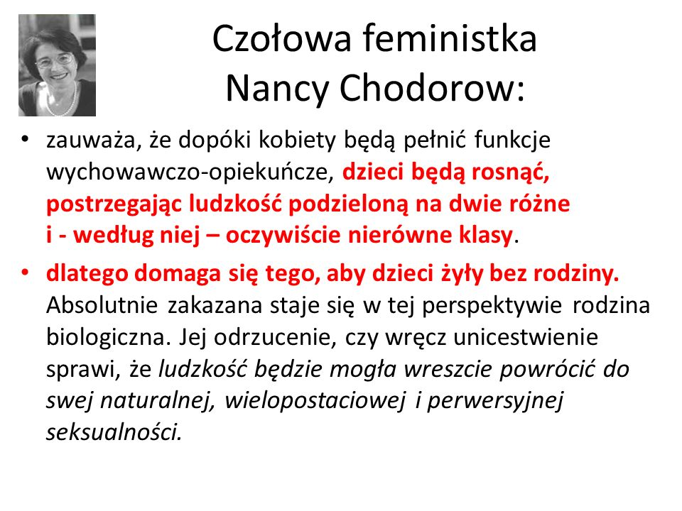 Czołowa feministka Nancy Chodorow: