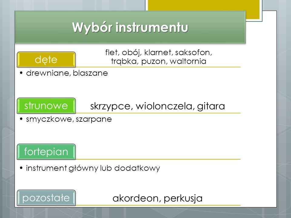 Wybór instrumentu dęte strunowe fortepian pozostałe