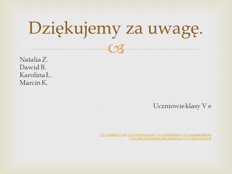 Dziękujemy za uwagę. Natalia Z. Dawid B. Karolina Ł. Marcin K.