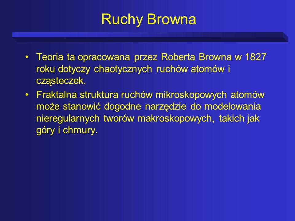 Ruchy Browna Teoria ta opracowana przez Roberta Browna w 1827 roku dotyczy chaotycznych ruchów atomów i cząsteczek.