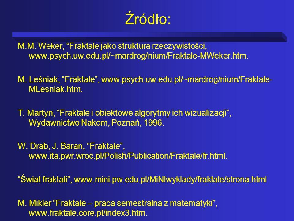 Źródło: M.M. Weker, Fraktale jako struktura rzeczywistości, www.psych.uw.edu.pl/~mardrog/nium/Fraktale-MWeker.htm.