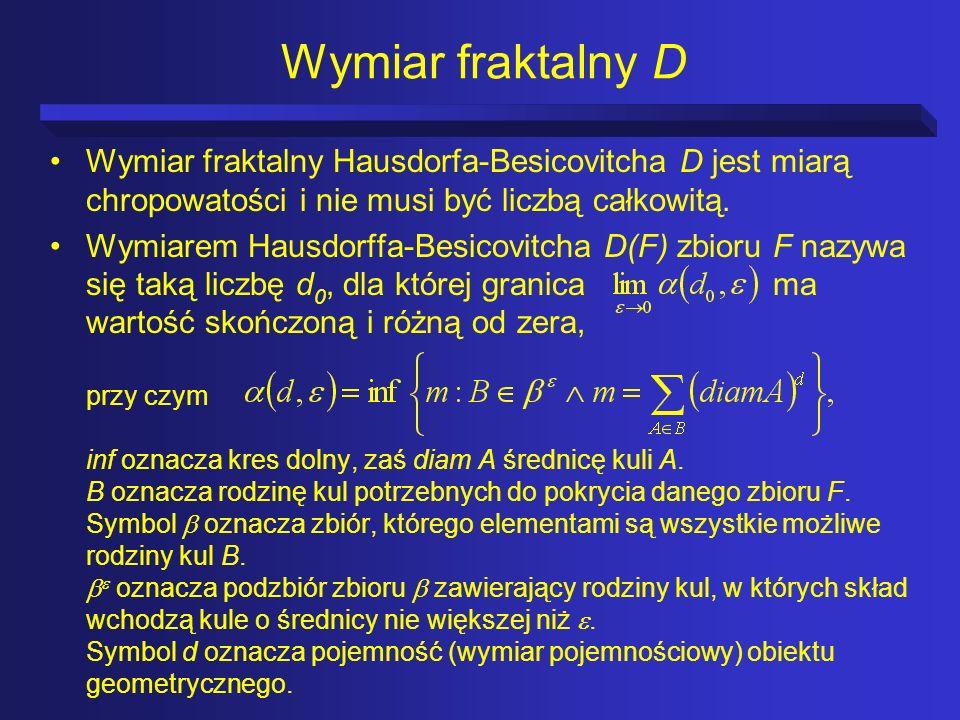 Wymiar fraktalny D Wymiar fraktalny Hausdorfa-Besicovitcha D jest miarą chropowatości i nie musi być liczbą całkowitą.