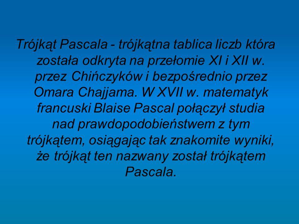 Trójkąt Pascala - trójkątna tablica liczb która została odkryta na przełomie XI i XII w.
