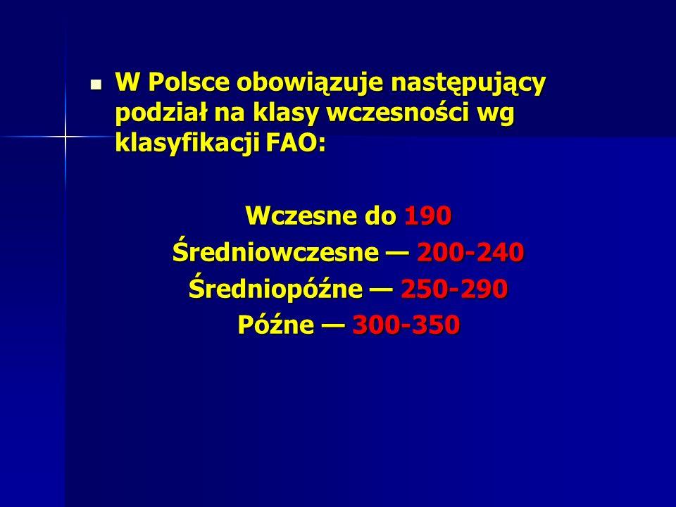 W Polsce obowiązuje następujący podział na klasy wczesności wg klasyfikacji FAO: