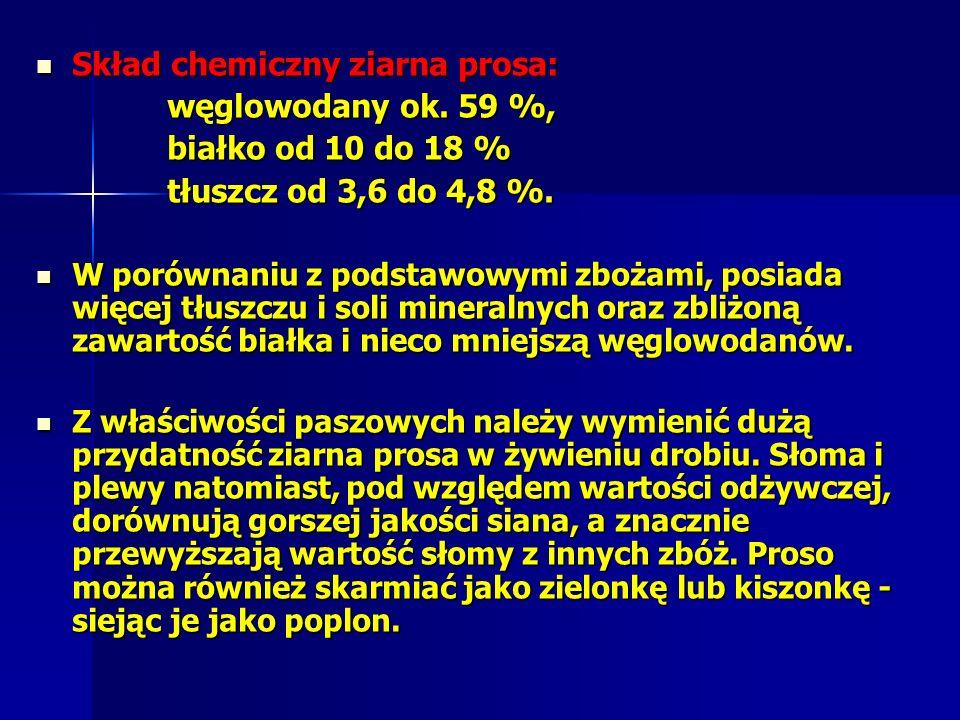 Skład chemiczny ziarna prosa: węglowodany ok. 59 %,