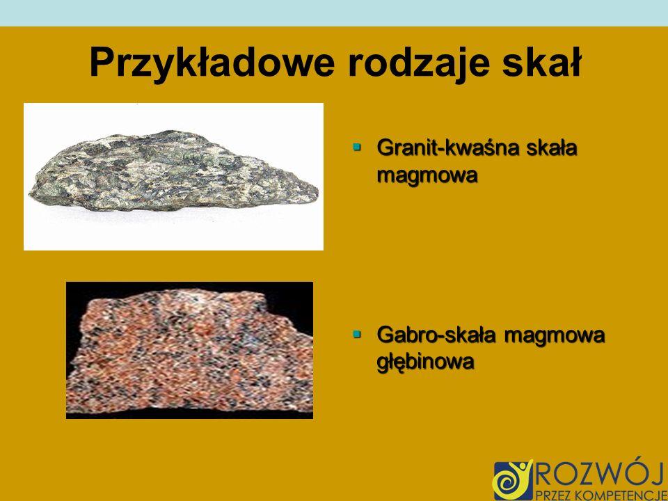 Przykładowe rodzaje skał