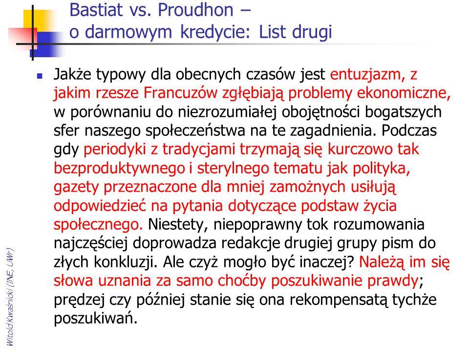 Bastiat vs. Proudhon – o darmowym kredycie: List drugi