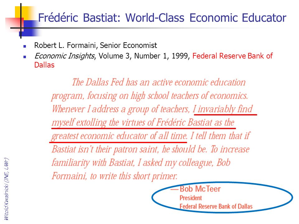 Frédéric Bastiat: World-Class Economic Educator