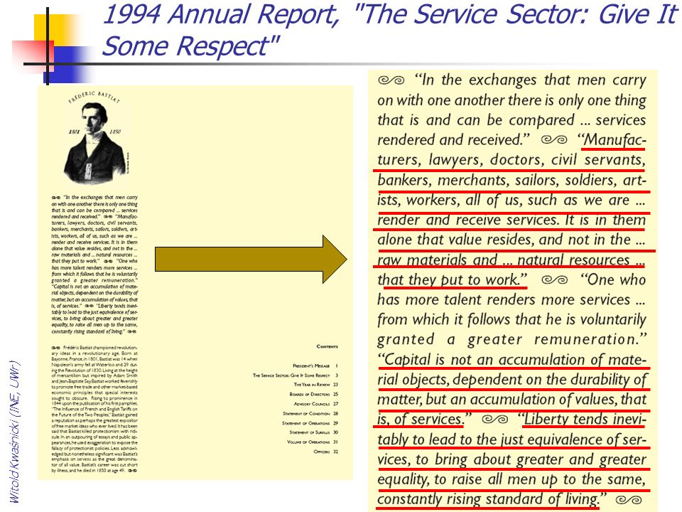 1994 Annual Report, The Service Sector: Give It Some Respect