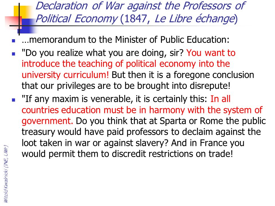 Declaration of War against the Professors of Political Economy (1847, Le Libre échange)
