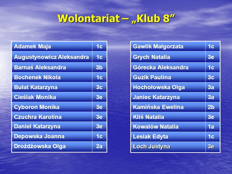 """Wolontariat – """"Klub 8 Adamek Maja 1c Augustynowicz Aleksandra"""