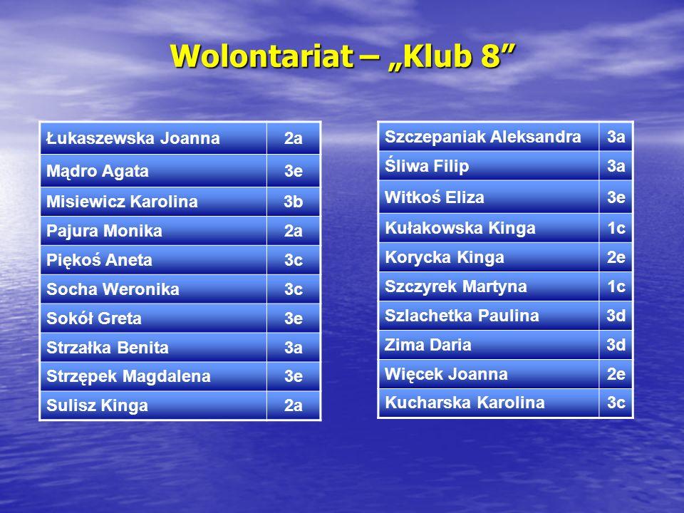 """Wolontariat – """"Klub 8 Łukaszewska Joanna 2a Mądro Agata 3e"""