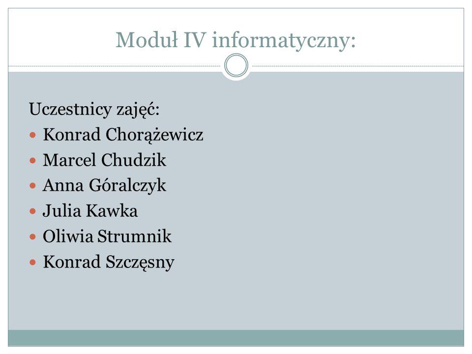 Moduł IV informatyczny: