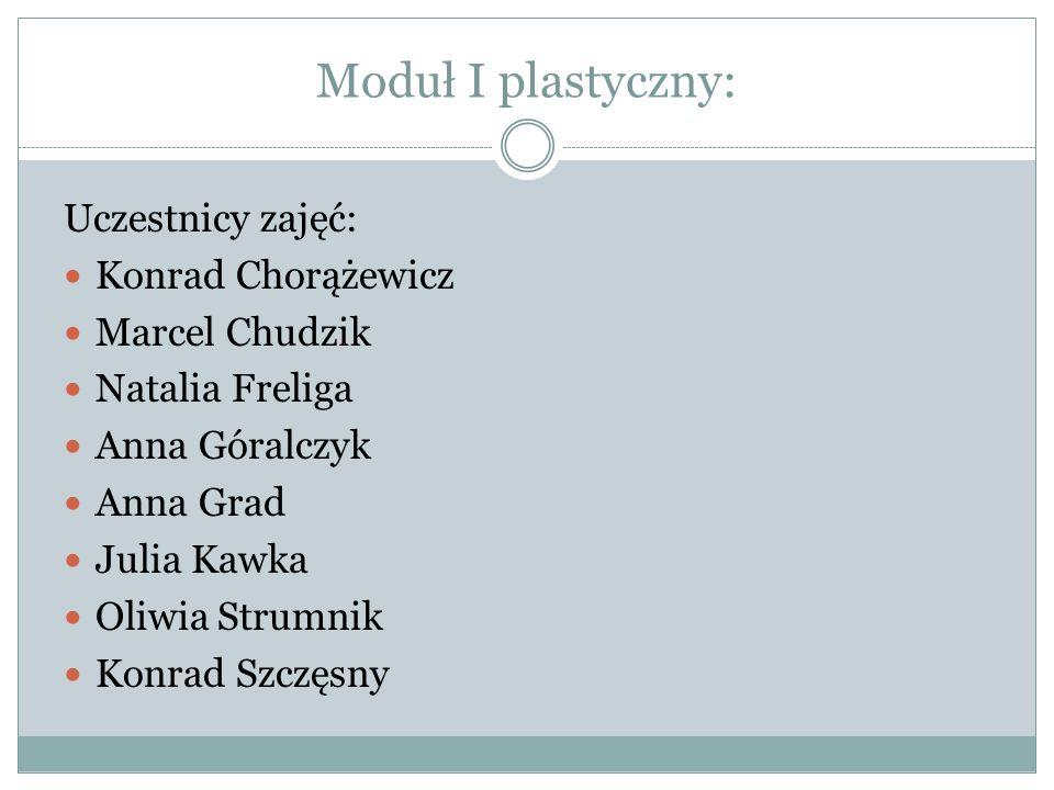 Moduł I plastyczny: Uczestnicy zajęć: Konrad Chorążewicz