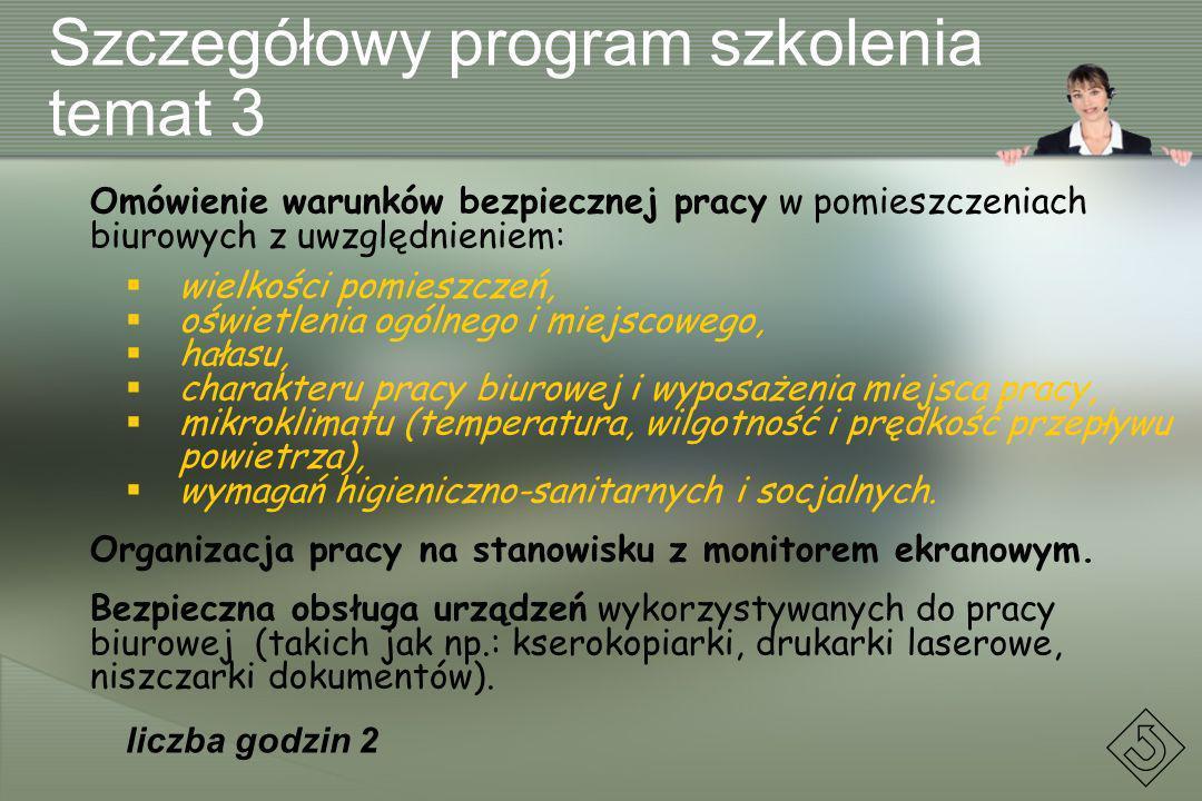 Szczegółowy program szkolenia temat 3