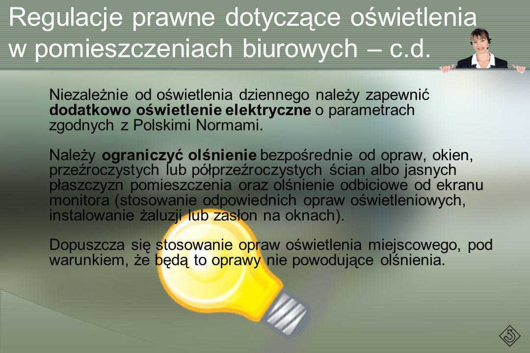 Regulacje prawne dotyczące oświetlenia w pomieszczeniach biurowych – c