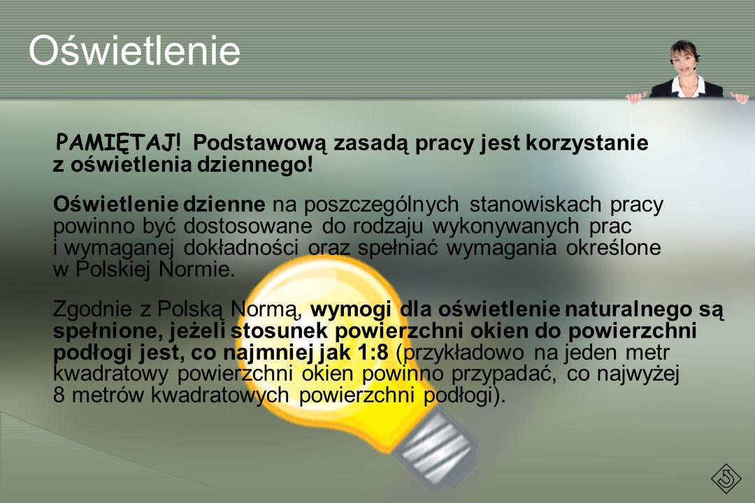 Oświetlenie PAMIĘTAJ! Podstawową zasadą pracy jest korzystanie z oświetlenia dziennego!