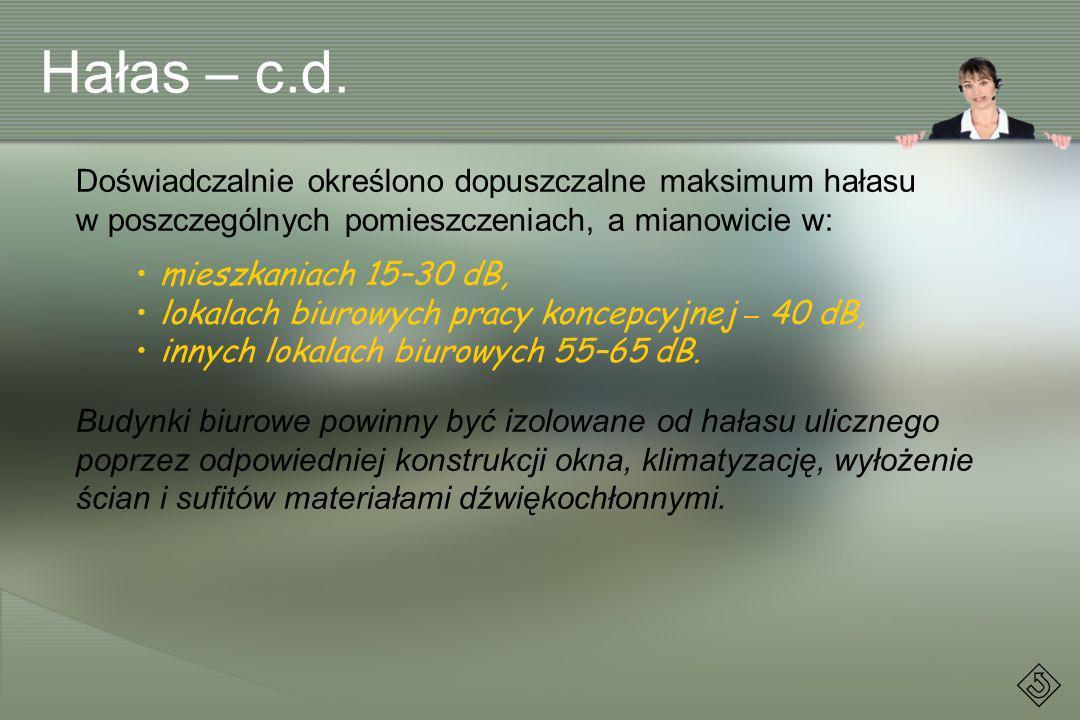 Hałas – c.d. Doświadczalnie określono dopuszczalne maksimum hałasu w poszczególnych pomieszczeniach, a mianowicie w: