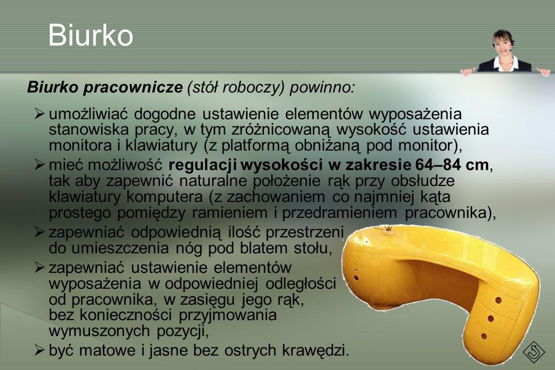 Biurko Biurko pracownicze (stół roboczy) powinno: