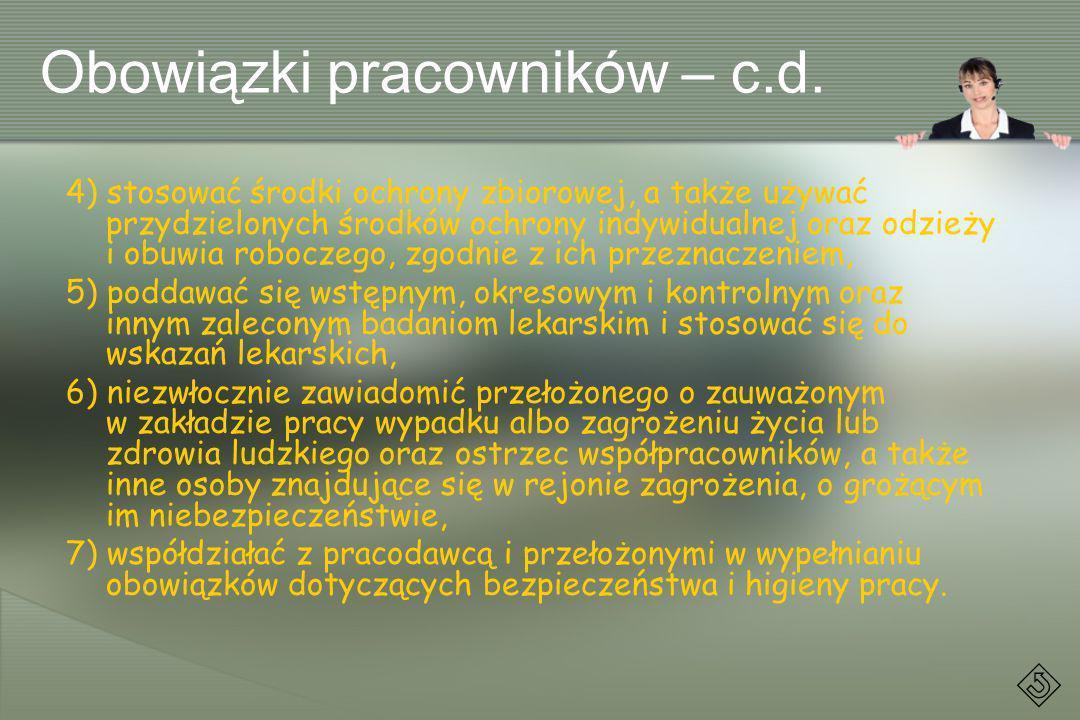 Obowiązki pracowników – c.d.
