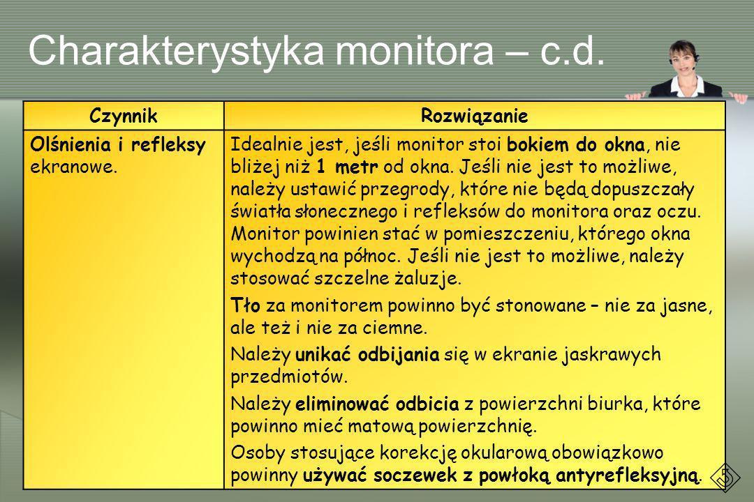 Charakterystyka monitora – c.d.