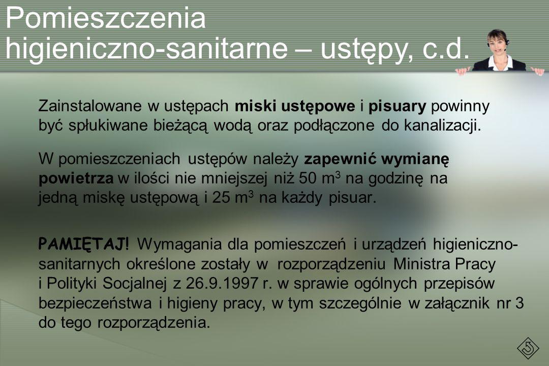 higieniczno-sanitarne – ustępy, c.d.