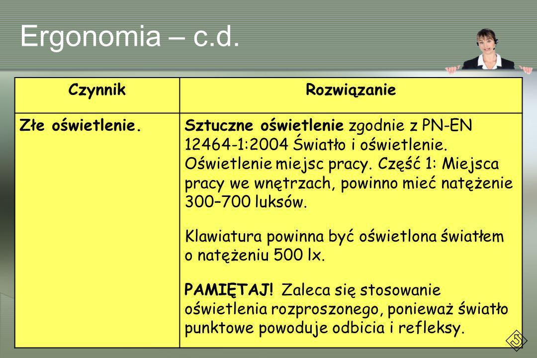 Ergonomia – c.d. Czynnik Rozwiązanie Złe oświetlenie.