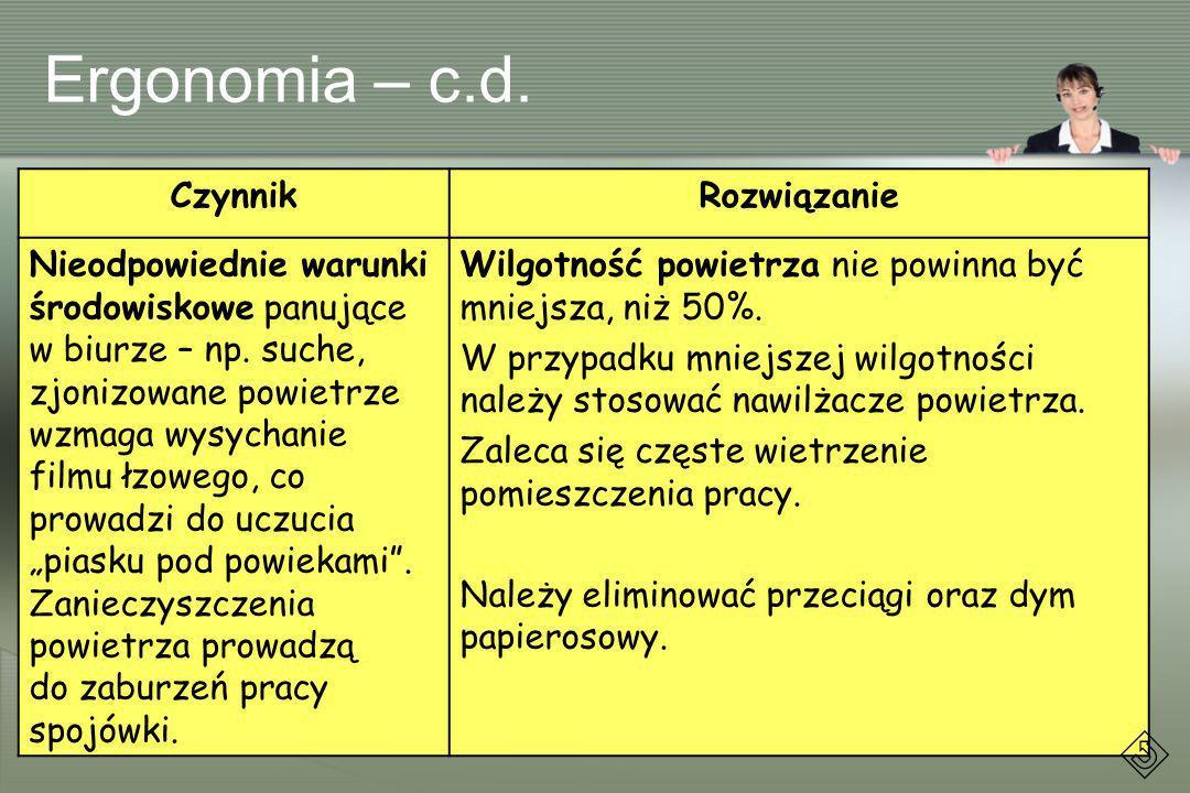 Ergonomia – c.d. Czynnik Rozwiązanie