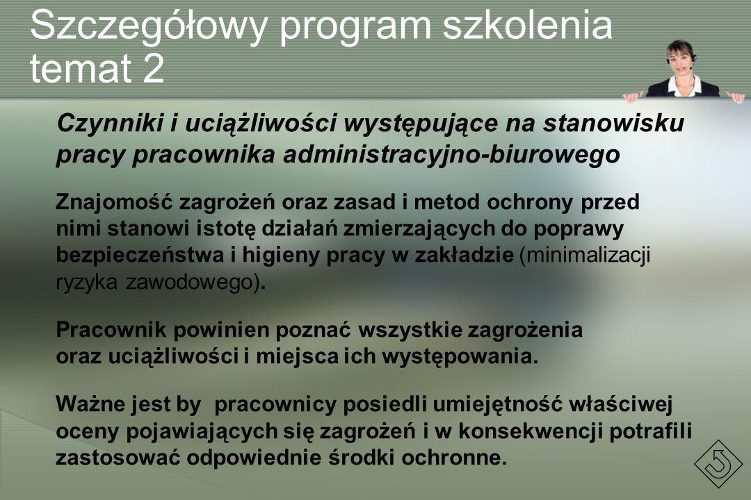 Szczegółowy program szkolenia temat 2