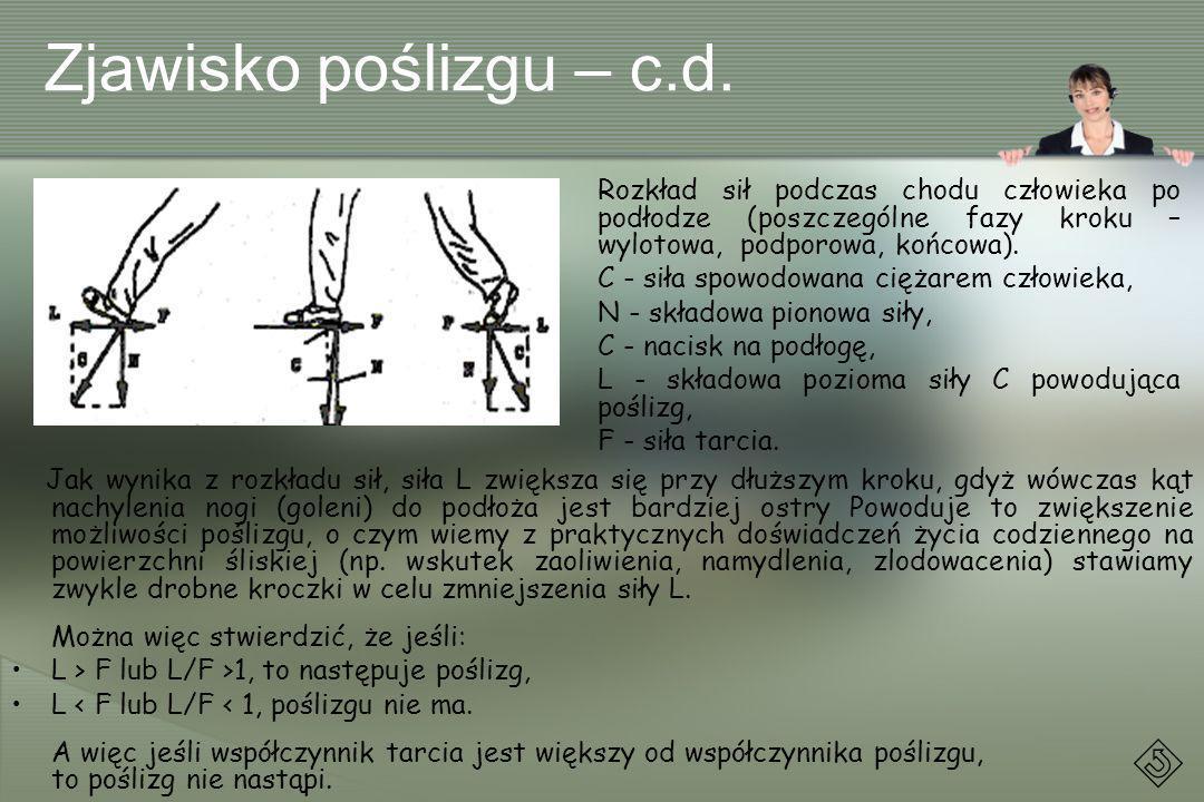 Zjawisko poślizgu – c.d. Rozkład sił podczas chodu człowieka po podłodze (poszczególne fazy kroku – wylotowa, podporowa, końcowa).