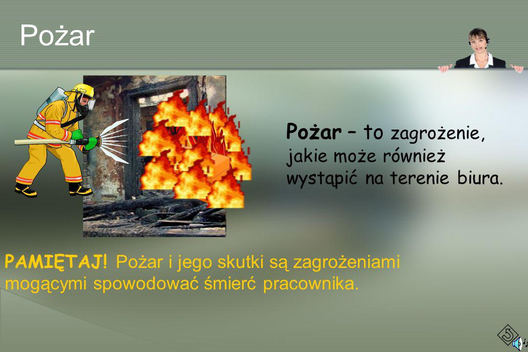 Pożar Pożar – to zagrożenie, jakie może również wystąpić na terenie biura.
