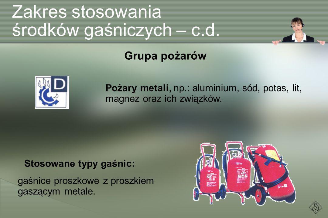 Zakres stosowania środków gaśniczych – c.d.