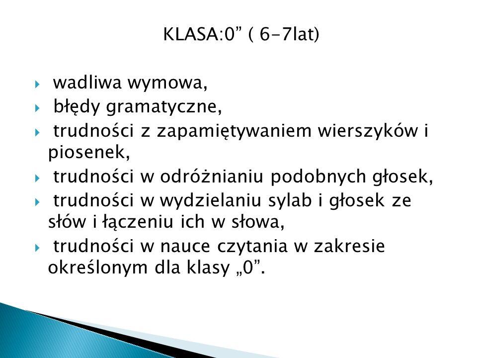 KLASA:0 ( 6-7lat) wadliwa wymowa, błędy gramatyczne, trudności z zapamiętywaniem wierszyków i piosenek,