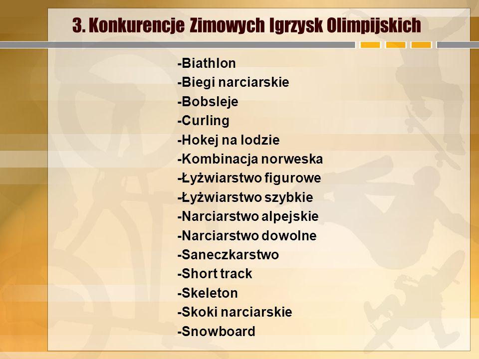 3. Konkurencje Zimowych Igrzysk Olimpijskich