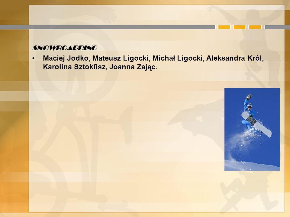 SNOWBOARDING Maciej Jodko, Mateusz Ligocki, Michał Ligocki, Aleksandra Król, Karolina Sztokfisz, Joanna Zając.