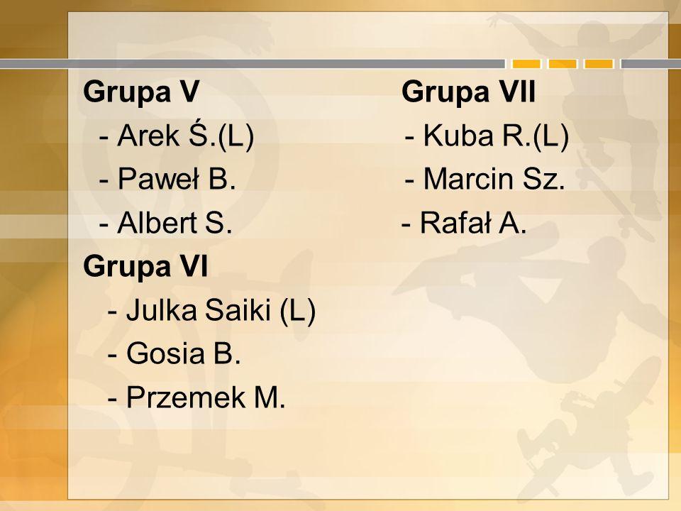 Grupa V Grupa VII - Arek Ś. (L) - Kuba R. (L) - Paweł B. - Marcin Sz