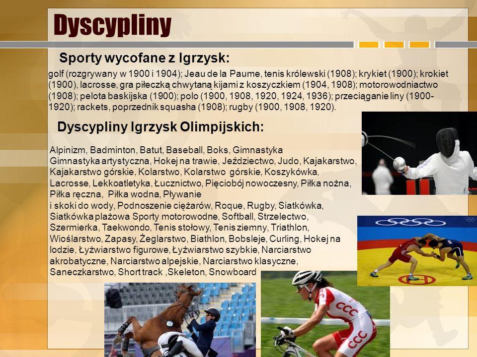 Dyscypliny Sporty wycofane z Igrzysk: Dyscypliny Igrzysk Olimpijskich: